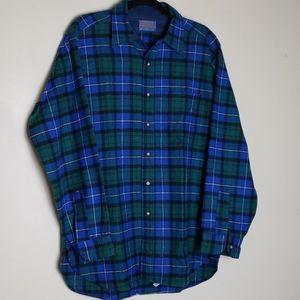 Pendleton plaid wool shirt blue green